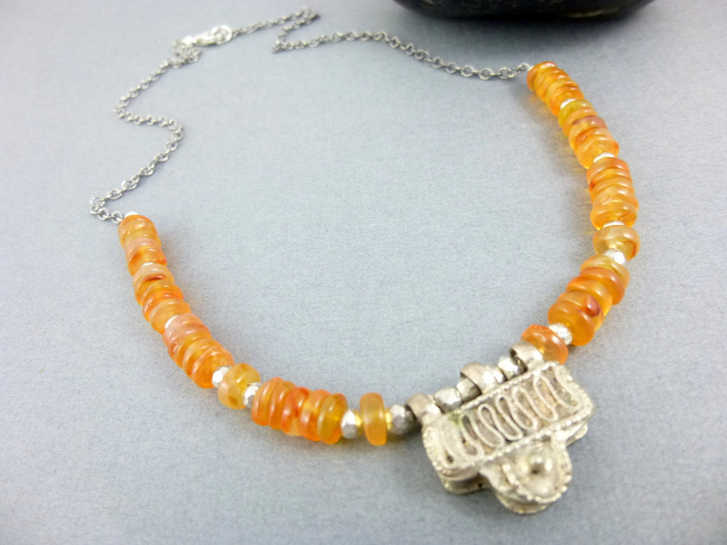 Carnelian Root Chakra Necklace, Old African Telsum Amulet Bead