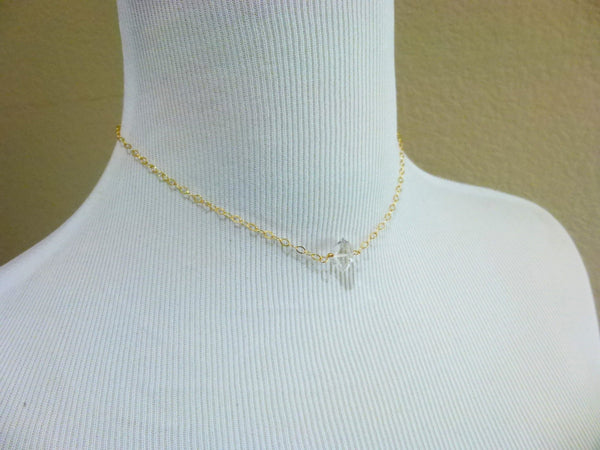 Herkimer Diamond Necklace, 14K Gold Filled, Double Terminated Healing Crystals