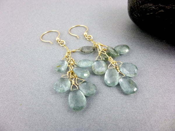 Moss Aquamarine Throat Chakra Earrings, Gold Fill, March Birthstone