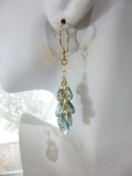 Moss Aquamarine Throat Chakra Earrings, March Birthstone - Earth Energy Gemstones