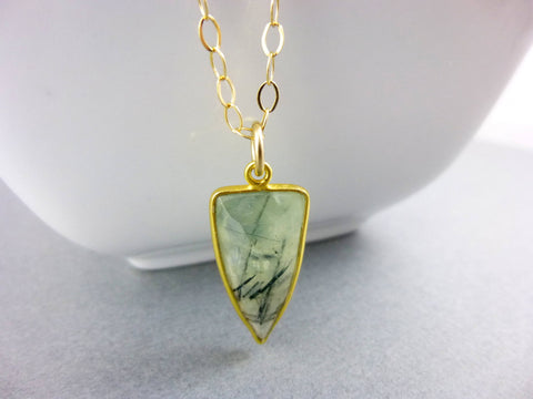 Prehnite Heart Chakra Necklace, 14K Gold Fill Chain