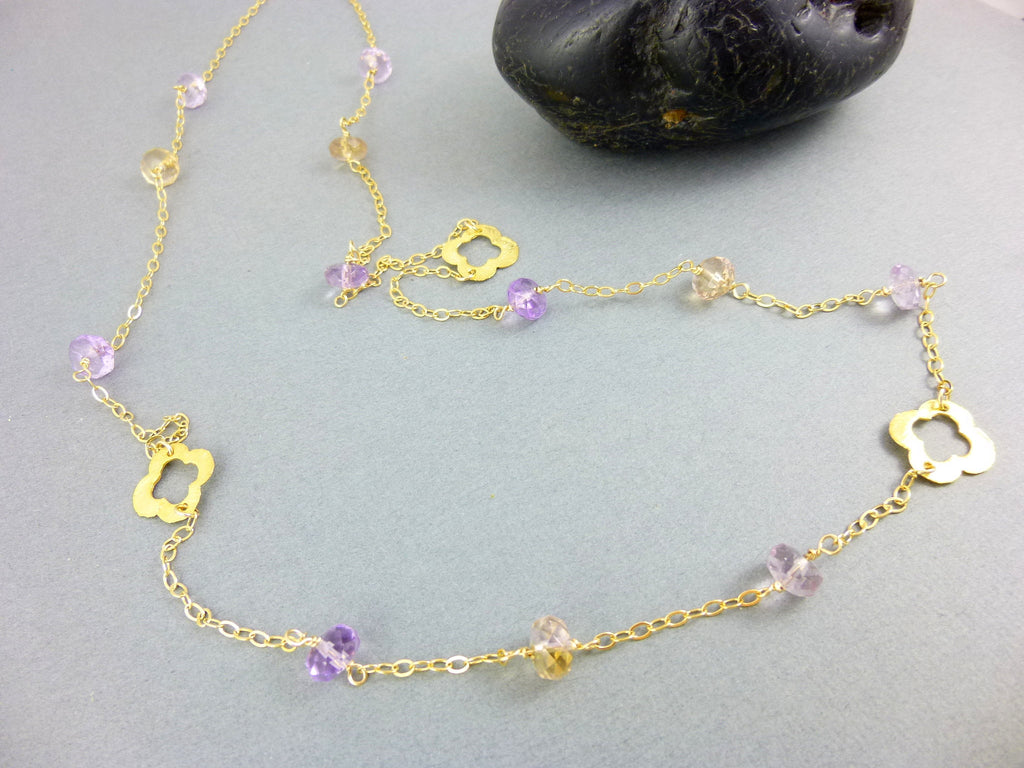 Ametrine Chakra Necklace, Root & Crown Chakras, 14K Gold Fill