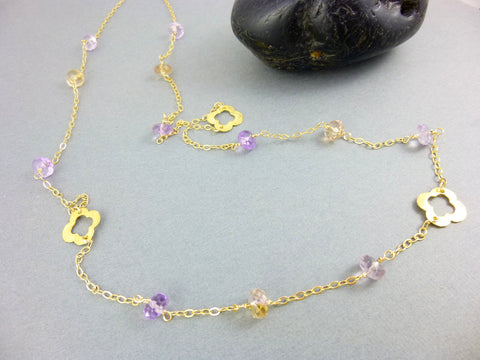 Ametrine Chakra Necklace, Root & Crown Chakras, 14K Gold Fill Clover Station Necklace with Ametrine, Wire Wrapped, Healing Crystals