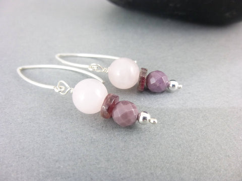 Rose Quartz Chakra Earrings, Tourmaline, Mookaite - Earth Energy Gemstones