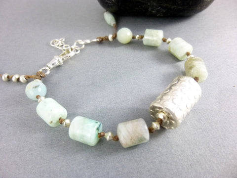 Artisan Amazonite Bracelet, Soothes and Helps Communication