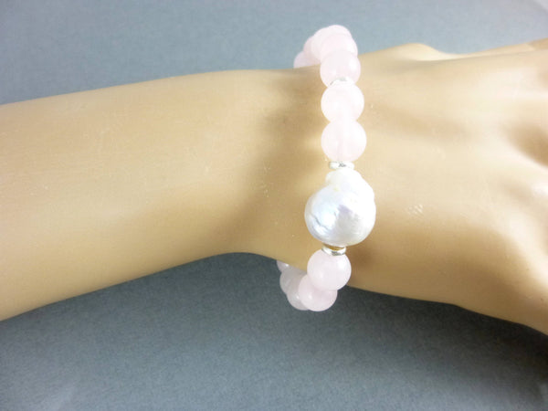 Pink Chakra Bracelet, Rose Quartz, White Pearl - Earth Energy Gemstones