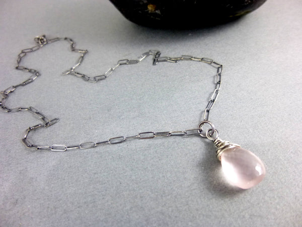 Rose Quartz Heart Chakra Necklace, Sterling Silver