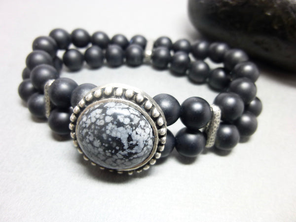 Double Strand Matte Black Onyx Stretch Bracelet 6- Earth Energy Gemstones