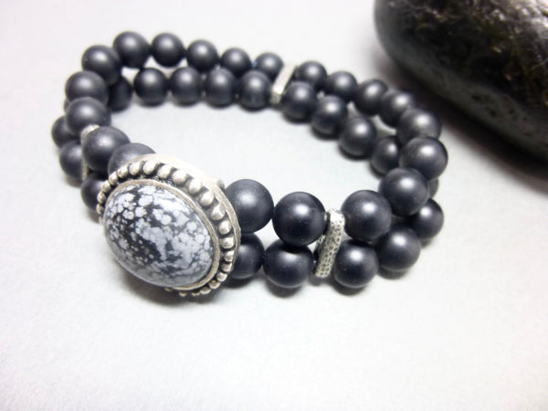Double Strand Matte Black Onyx Stretch Bracelet 7 - Earth Energy Gemstones