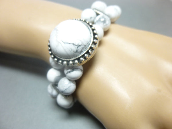 Double Strand White Howlite Boho Chakra Bracelet 5 - Earth Energy Gemstones