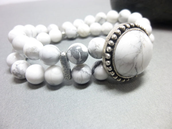 Double Strand White Howlite Boho Chakra Bracelet 6 - Earth Energy Gemstones