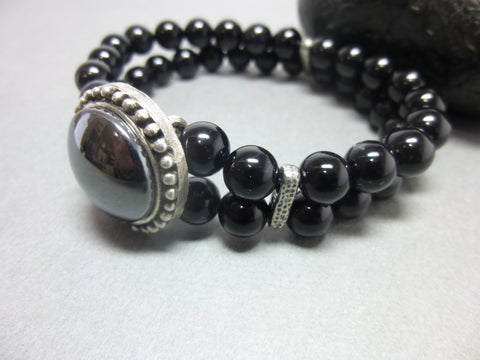 Black Onyx and Hematite Root Chakra Bracelet 1 - Earth Energy Gemstones