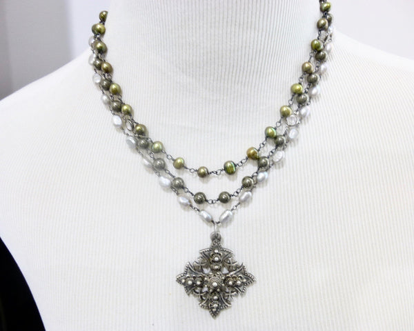 Triple Strand Pearl and Pyrite Chakra Necklace with Jerusalem Cross Pendant 4 - Earth Energy Gemstones