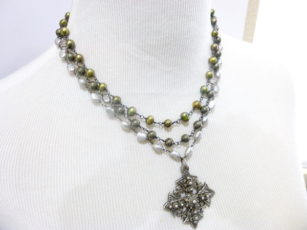 Triple Strand Pearl and Pyrite Chakra Necklace with Jerusalem Cross Pendant 8 - Earth Energy Gemstones