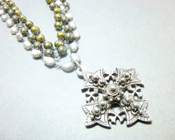Triple Strand Pearl and Pyrite Chakra Necklace with Jerusalem Cross Pendant 3 - Earth Energy Gemstones
