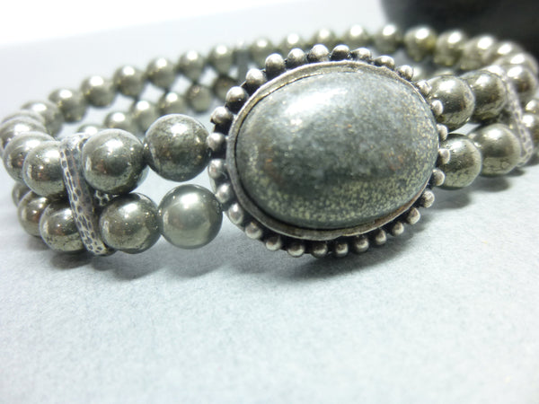 Bronze Pyrite Stretch Chakra Bracelet 1 - Earth Energy Gemstones