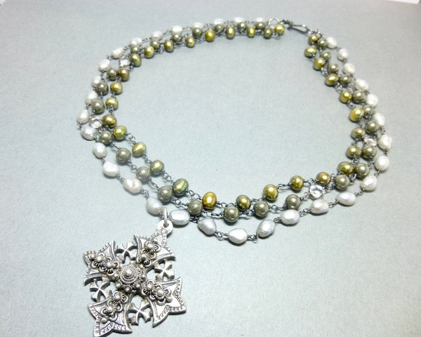 Triple Strand Pearl and Pyrite Chakra Necklace with Jerusalem Cross Pendant 1 - Earth Energy Gemstones