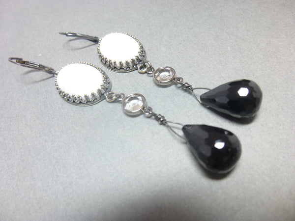 Black Onyx and Howlite Long Dangle Chakra Earrings 6 - Earth Energy Gemstones