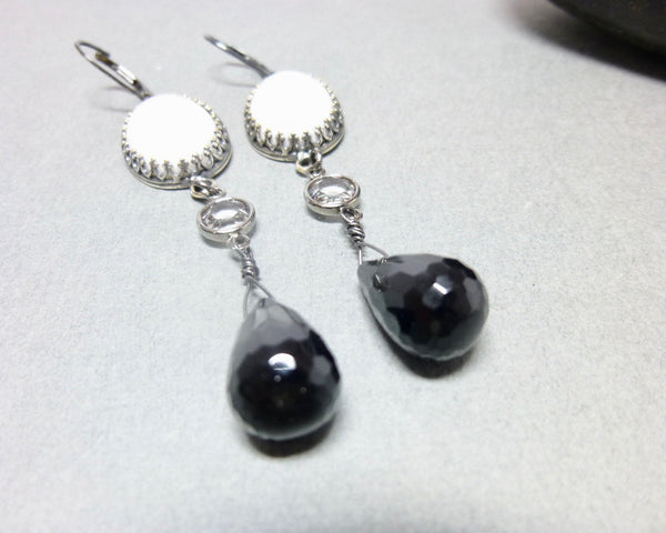 Black Onyx and Howlite Long Dangle Chakra Earrings 3 - Earth Energy Gemstones
