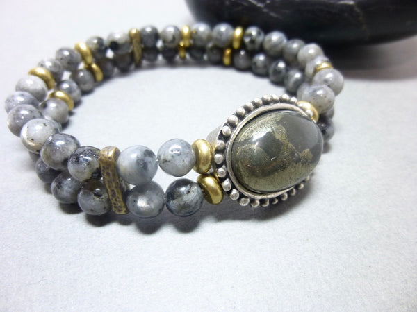 Smoky Gray Quartz and Pyrite Stretch Chakra Bracelet 7 - Earth Energy Gemstones