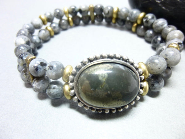 Smoky Gray Quartz and Pyrite Stretch Chakra Bracelet 1 - Earth Energy Gemstones