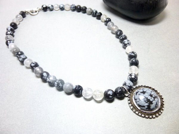 Snowflake Obsidian and Gray Quartz Pendant Necklace, Antiqued Pewter 9 - Earth Energy Gemstones