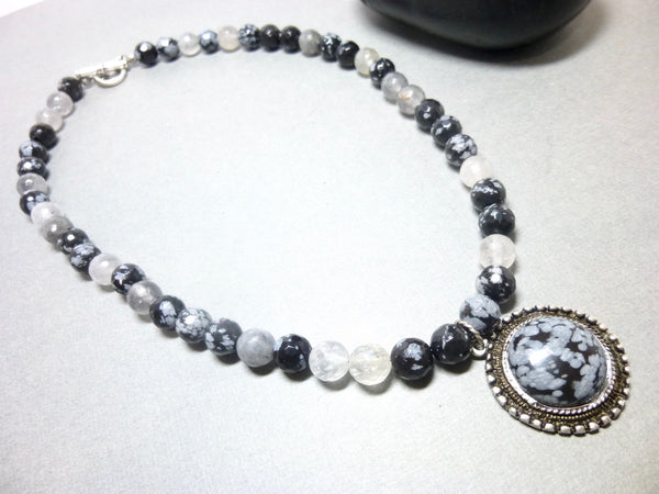 Snowflake Obsidian and Gray Quartz Pendant Necklace, Antiqued Pewter 1 - Earth Energy Gemstones