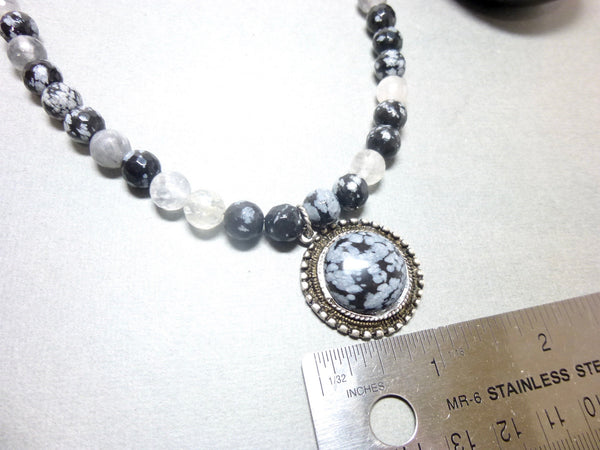 Snowflake Obsidian and Gray Quartz Pendant Necklace, Antiqued Pewter 5 - Earth Energy Gemstones