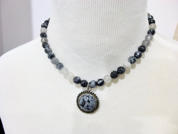 Snowflake Obsidian and Gray Quartz Pendant Necklace, Antiqued Pewter 2 - Earth Energy Gemstones