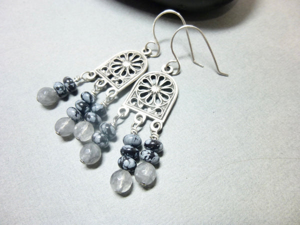 Gray Quartz and Snowflake Obsidian Long Dangle Chakra Earrings 10 - Earth Energy Gemstones