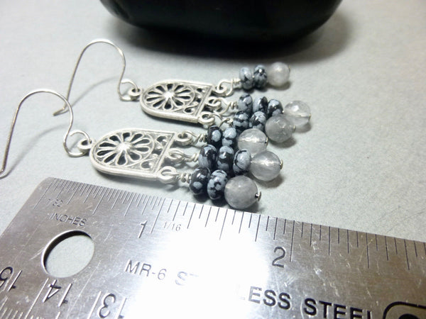 Gray Quartz and Snowflake Obsidian Long Dangle Chakra Earrings 6 - Earth Energy Gemstones