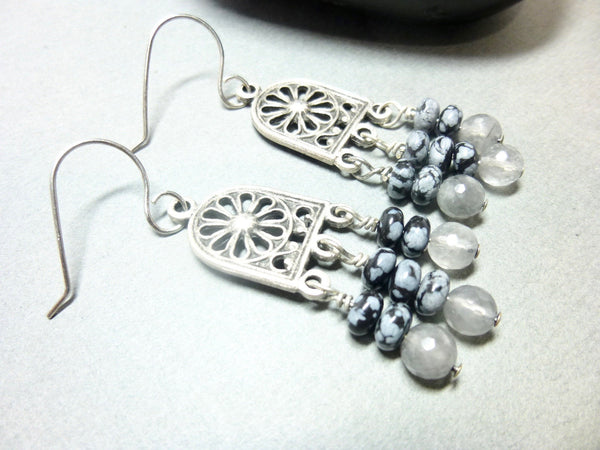 Gray Quartz and Snowflake Obsidian Long Dangle Chakra Earrings 5 - Earth Energy Gemstones