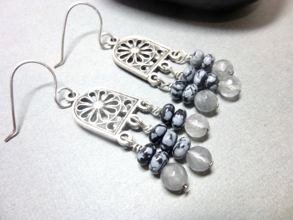 Gray Quartz and Snowflake Obsidian Long Dangle Chakra Earrings 7 - Earth Energy Gemstones