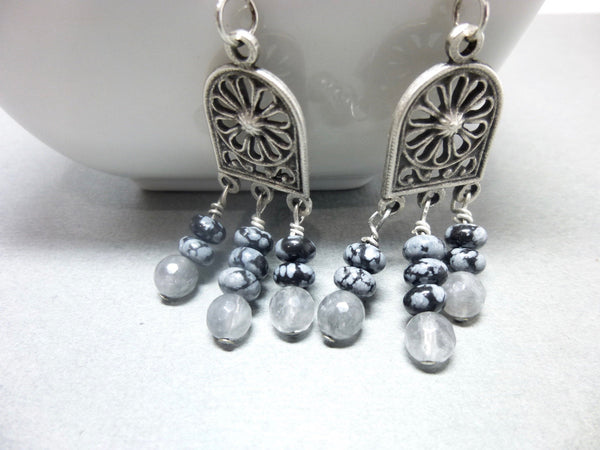 Gray Quartz and Snowflake Obsidian Long Dangle Chakra Earrings 8 - Earth Energy Gemstones