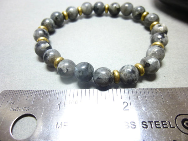 Black Labradorite Root Chakra Stretch Bracelet with Brass