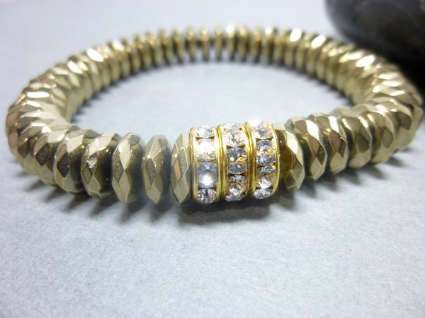 Sparkly Faceted Gold Pyrite Chakra Bracelet with Swarovski Rhinestones 1 - Earth Energy Gemstones