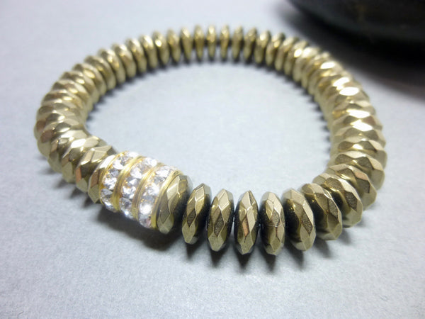 Sparkly Faceted Gold Pyrite Chakra Bracelet with Swarovski Rhinestones 9 - Earth Energy Gemstones