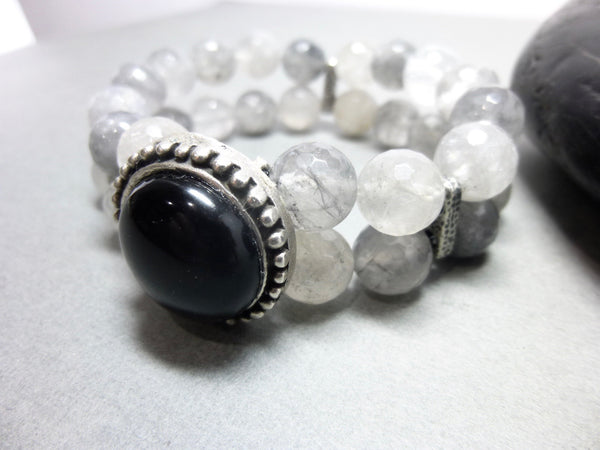 Black Onyx and Smoky Cloud Quartz Stretch Bracelet 2 - Earth Energy Gemstones