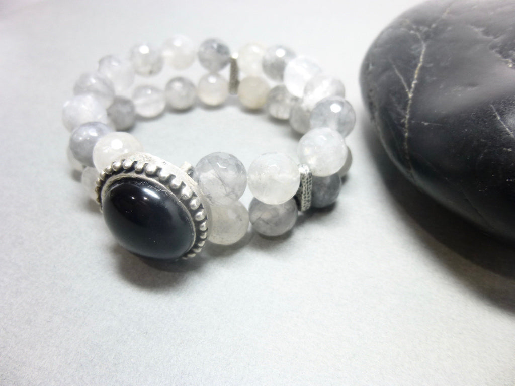 Black Onyx and Smoky Cloud Quartz Stretch Bracelet 4 - Earth Energy Gemstones