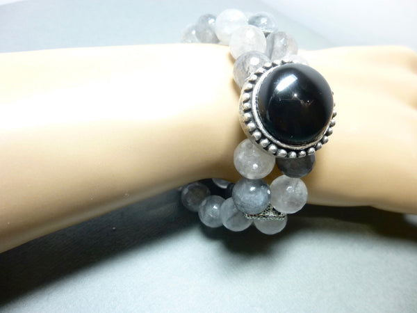 Black Onyx and Smoky Cloud Quartz Stretch Bracelet 3 - Earth Energy Gemstones