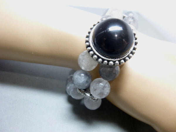 Black Onyx and Smoky Cloud Quartz Stretch Bracelet 8 - Earth Energy Gemstones