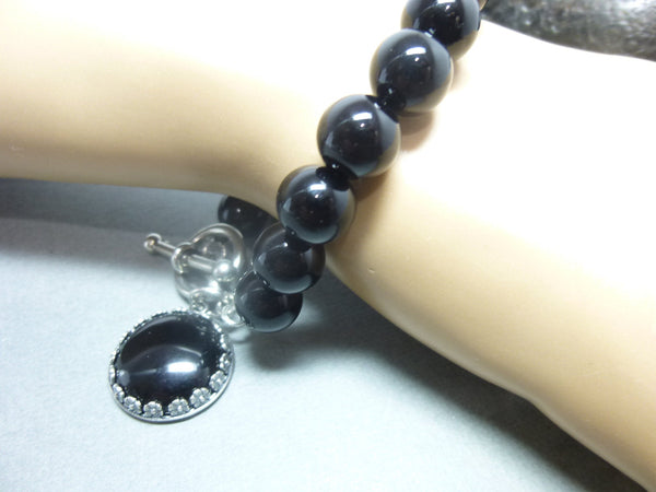 Black Onyx Root Chakra Bracelet, Framed Onyx Dangle