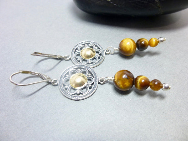 Tiger Eye Chakra Earrings, Mixed Metals, Sterling Silver & Gold Fill, Healing Crystals