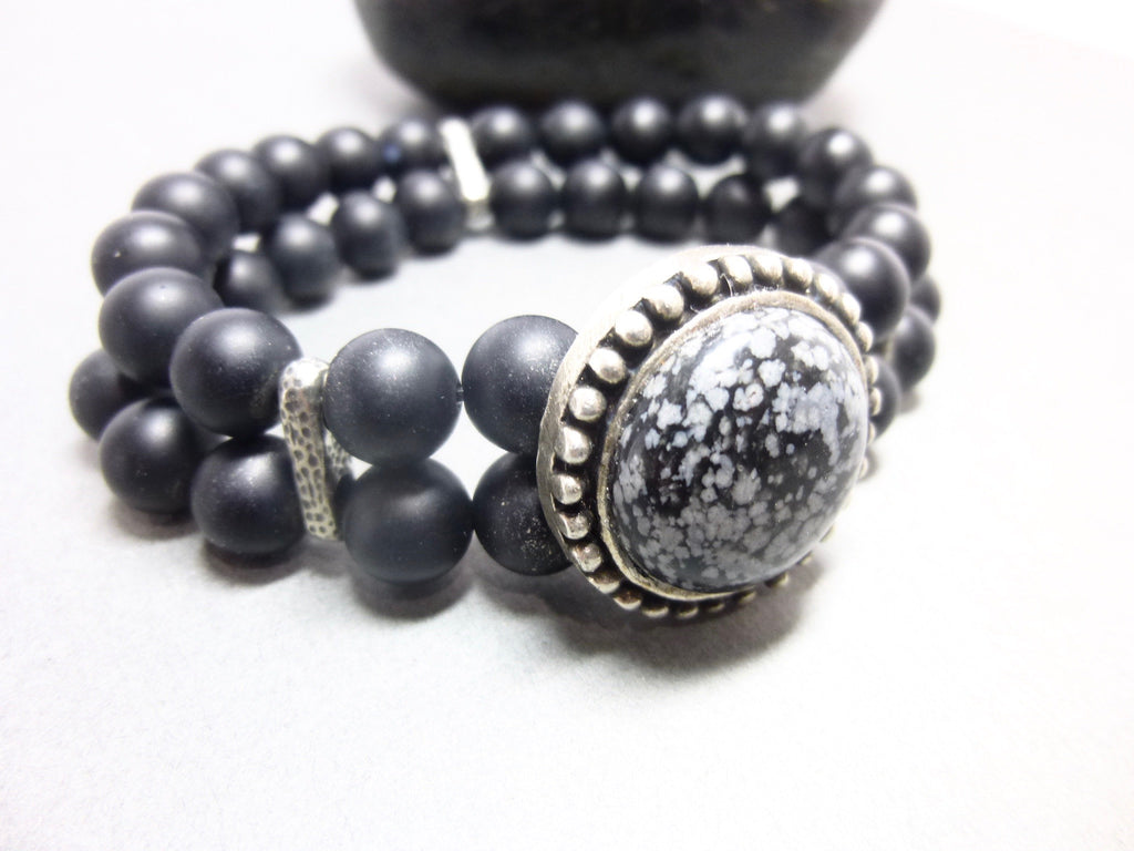 Double Strand Matte Black Onyx Stretch Bracelet 1 - Earth Energy Gemstones