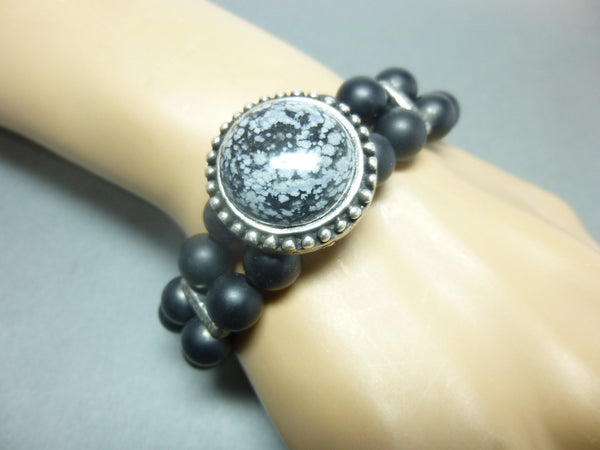 Double Strand Matte Black Onyx Stretch Bracelet 8 - Earth Energy Gemstones