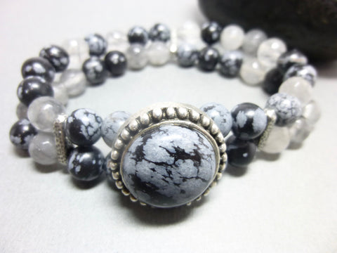 Smoky Cloud Quartz and Snowflake Obsidian Chakra Bracelet