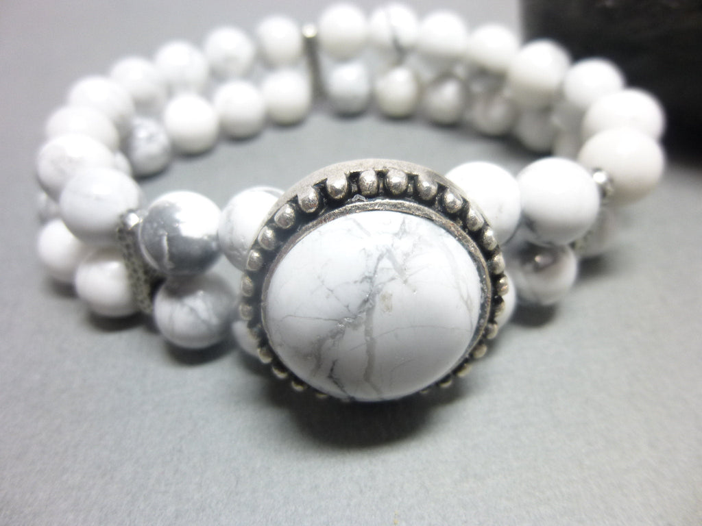 Double Strand White Howlite Boho Chakra Bracelet 1 - Earth Energy Gemstones