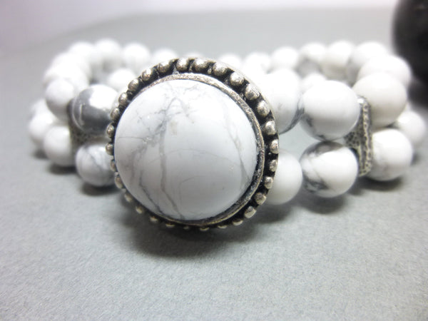 Double Strand White Howlite Boho Chakra Bracelet 4 - Earth Energy Gemstones