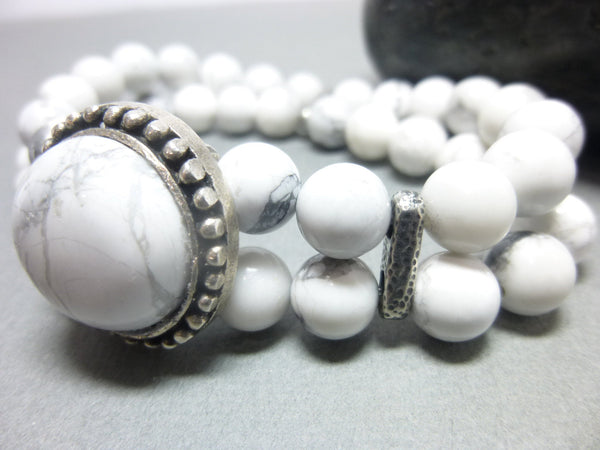 Double Strand White Howlite Boho Chakra Bracelet 7 - Earth Energy Gemstones