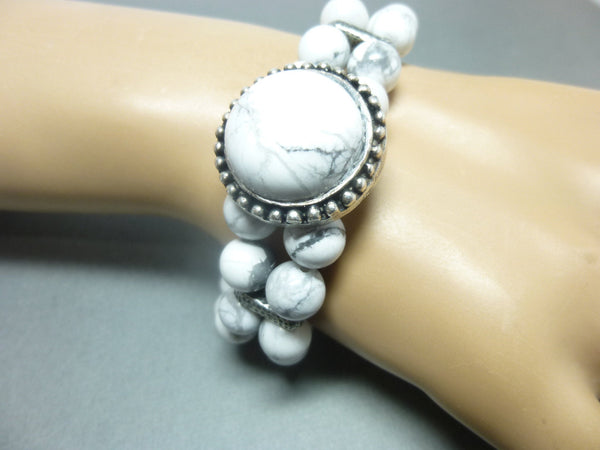 Double Strand White Howlite Boho Chakra Bracelet 8 - Earth Energy Gemstones